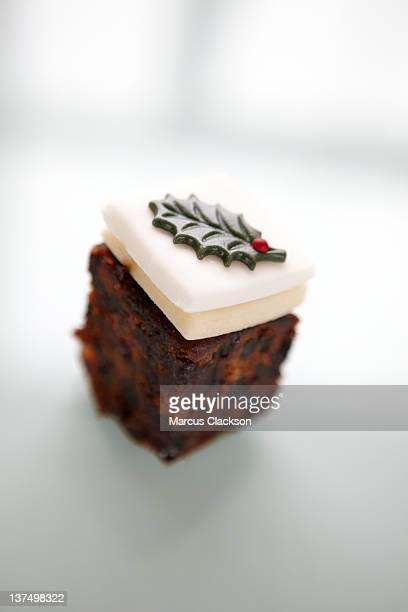 Single slice of christmas cake