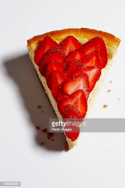 single slice of strawberry cheesecake