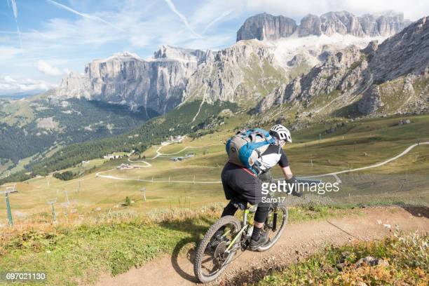 Single trail mountainbiking towards Passo Pordoi, Dolomites, Italy