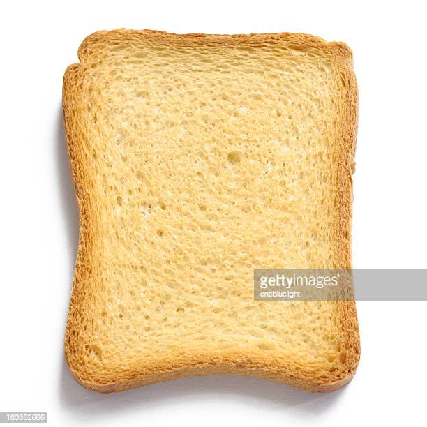 Single uniformly toasted piece of bread on white background
