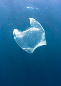 A single use Plastic bag floats in the Ocean.  Seemingly harmless, it represents the massive environmental issue that is Global Ocean Pollution.  Plastic in the Ocean is said to be one of the largest