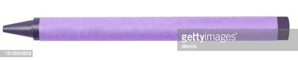 Single Violet Color Crayon Isolated on White Background