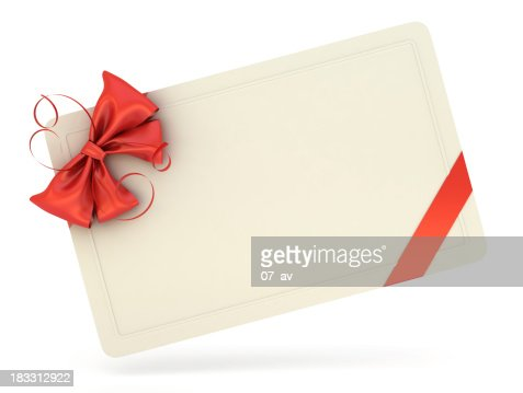 Single white blank gift card with a red ribbon and bow