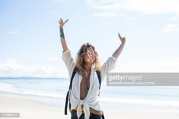 Single woman travelling solo Australia Byron Bay
