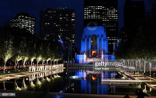 A single wreath floats on the Pool of Reflection as part of the 75th anniversary of the ANZAC Memorial in Hyde Park on November 24 2009 in Sydney...