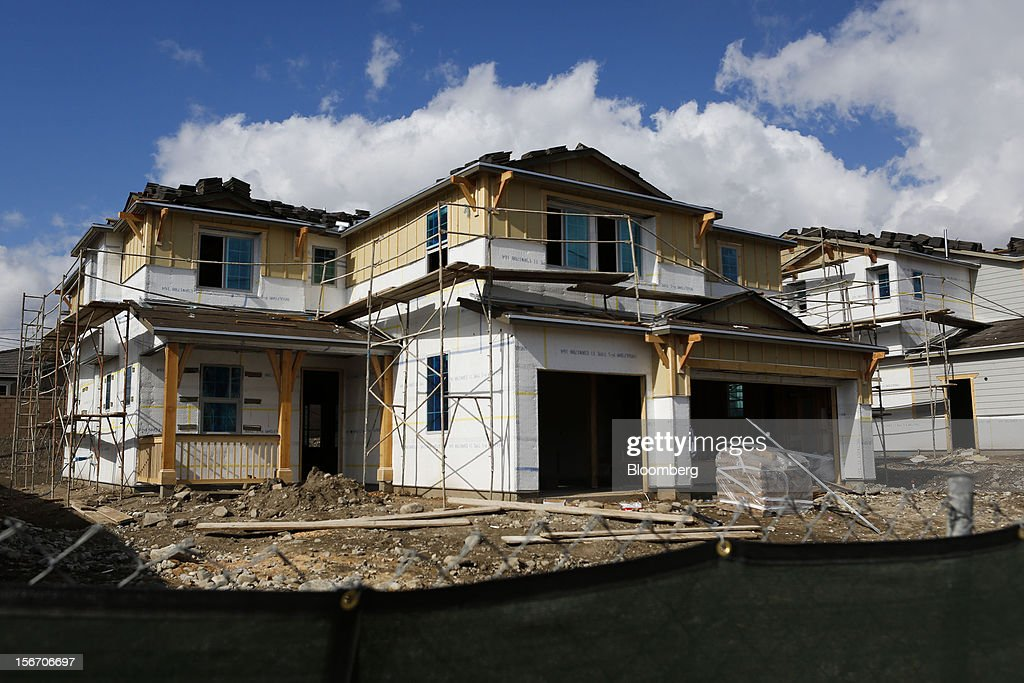 A single-family home under construction stands at The Enclave at Daycreek development in Rancho Cucamonga, California, U.S., on Sunday, Nov. 18, 2012. The U.S. Census Bureau is scheduled to release housing starts figures on Nov. 20. Photographer: Patrick T. Fallon/Bloomberg via Getty Images