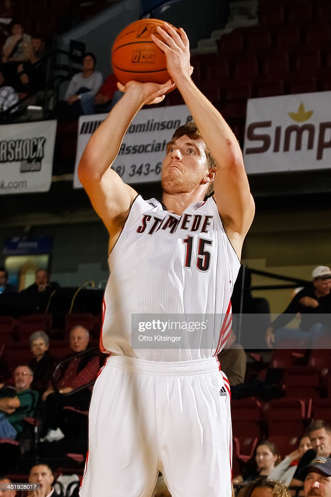 EJ Singler #15 of the Idaho Stampede shoots against the Bakersfield Jam during an NBA D-League game on November 22, 2013 at CenturyLink Arena in Boise, Idaho.