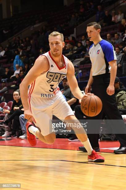 J Singler of the Raptors 905 drives to the basket against the Windy City Bulls on March 30 2017 in Mississauga Ontario Canada NOTE TO USER User...