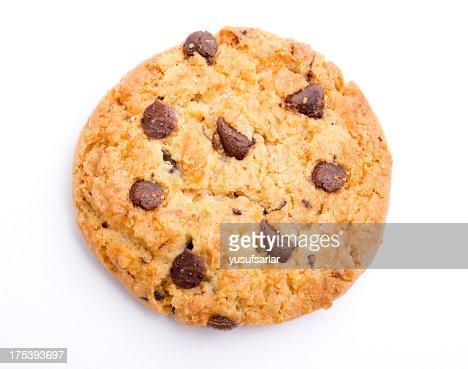 A singular chocolate chip cookie