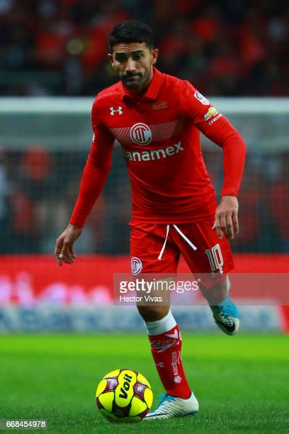 Sinha of Toluca drives the ball during the 10th round match between Toluca and Cruz Azul as part of the Torneo Clausura 2017 Liga MX at Nemesio Diez...
