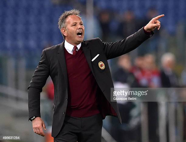 Sinisa Mihajlovic head coach of AC Milan during the Serie A match between SS Lazio and AC Milan at Stadio Olimpico on November 1 2015 in Rome Italy