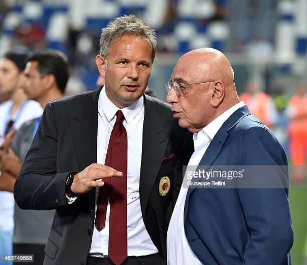Sinisa Mihajlovic head coach of Milan and Adriano Galliani AD of Milan after the TIM preseason tournament match between AC Milan and US Sassuolo...