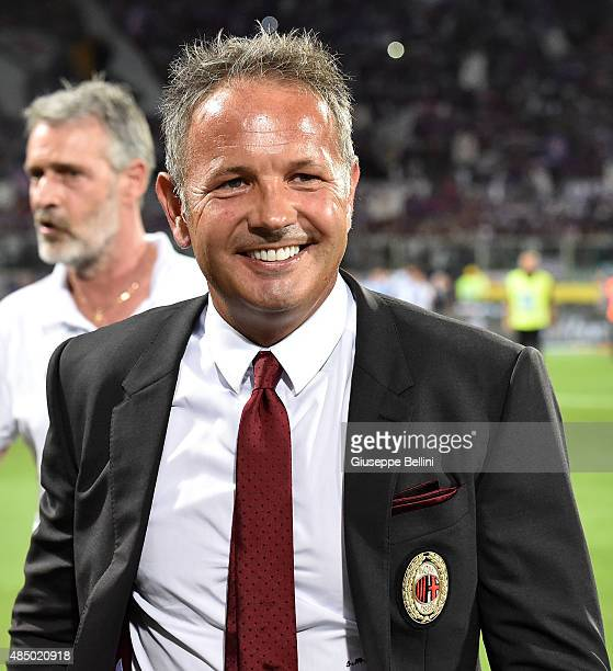 Sinisa Mihajlovic head coach of Milan during the Serie A match between ACF Fiorentina and AC Milan at Stadio Artemio Franchi on August 23 2015 in...
