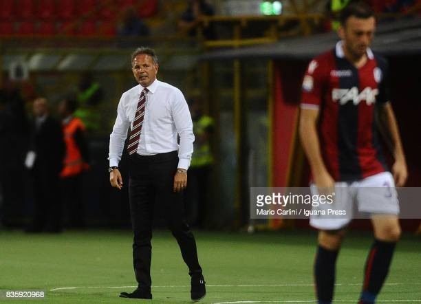 Sinisa Mihajlovic head coach of Torino FC looks on during the Serie A match between Bologna FC and Torino FC at Stadio Renato Dall'Ara on August 20...