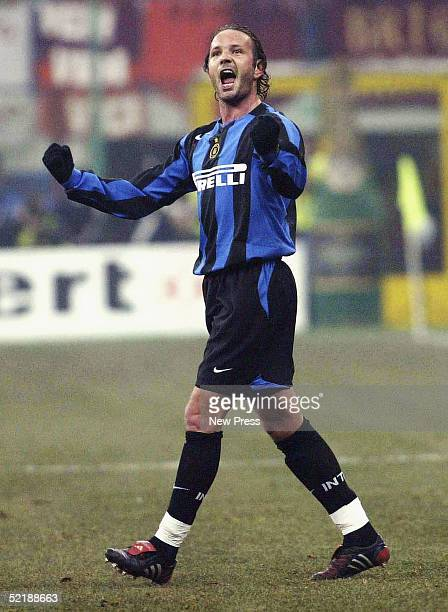 Sinisa Mihajlovic of Inter celebrates after scoring from a freekick during the Serie A match between Inter Milan and SS Roma played at the Guisseppe...