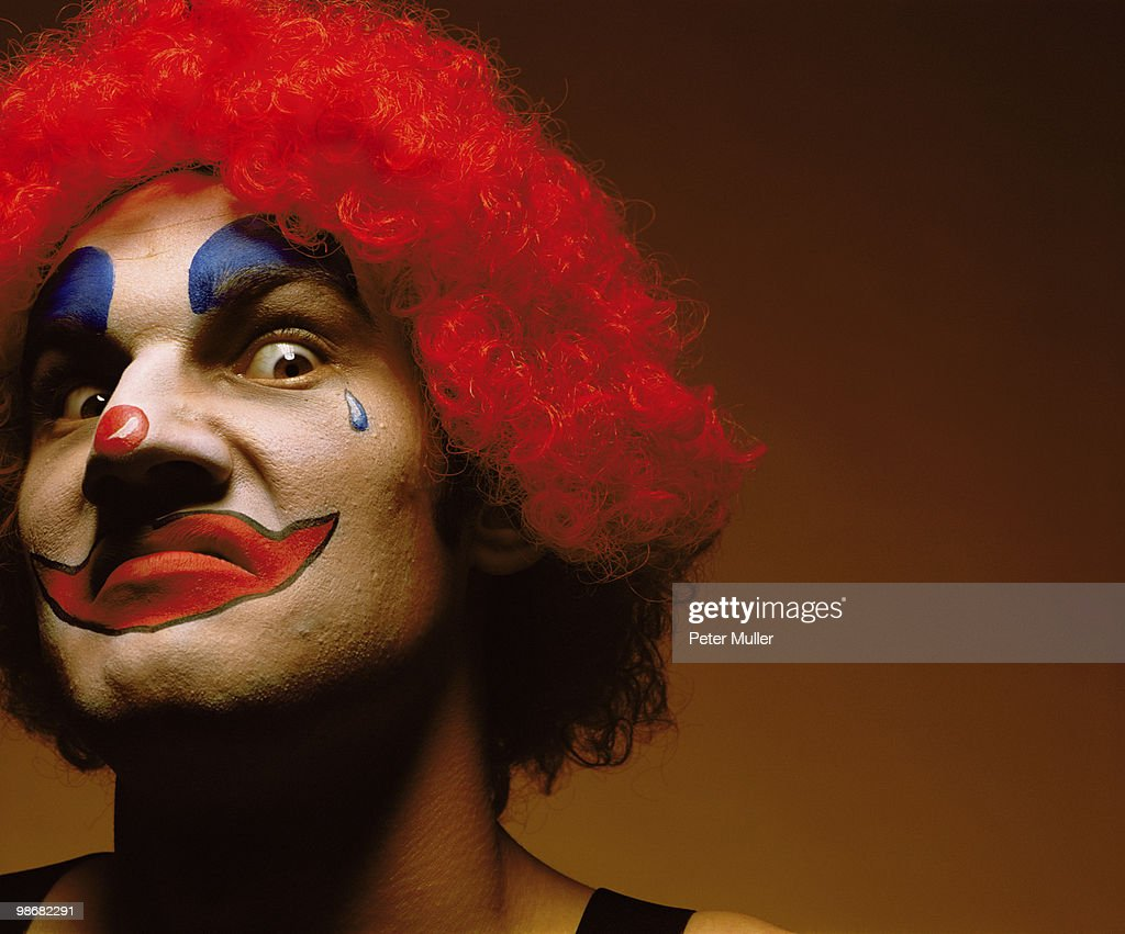 sinister looking clown