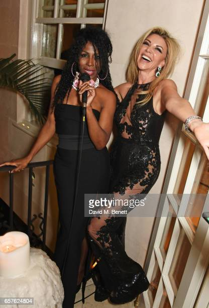 Sinitta and Lisa Tchenguiz attend Lisa Tchenguiz's party hosted by Fatima Maleki in Mayfair on March 24 2017 in London England