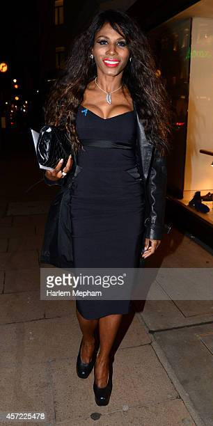 Sinitta arrives at the launch of a new personal training gym on October 14 2014 in London England