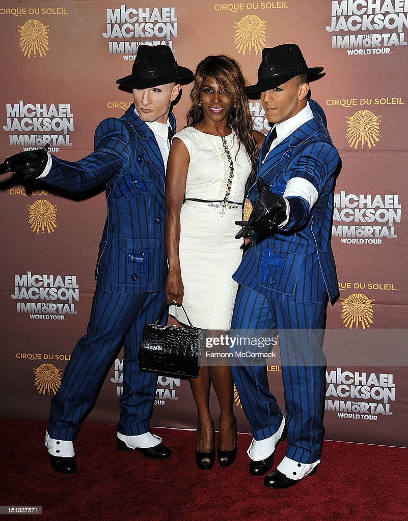 <a gi-track='captionPersonalityLinkClicked' href=/galleries/search?phrase=Sinitta&family=editorial&specificpeople=1797588 ng-click='$event.stopPropagation()'>Sinitta</a> attends the opening night of Cirque Du Soleil's 'Michael Jackson The Immortal World Tour' at 02 Arena on October 12, 2012 in London, England.