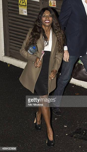 Sinitta is seen leaving 'The X Factor' held at Fountain Studios Wembley on November 22 2014 in London England