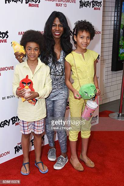 Sinitta with children Magdalena Willner and Zac Willner attend the UK gala screening of 'Angry Birds' at Picturehouse Central on May 7 2016 in London...