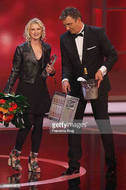 Sinje Irslinger and Hans Sigl attend the Deutscher Fernsehpreis 2014 show on October 02 2014 in Cologne Germany