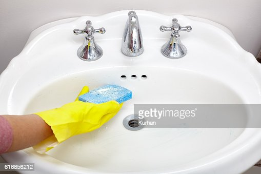 Sink cleaning. : Stock Photo