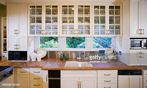 Sink, countertop and cabinets in domestic kitchen
