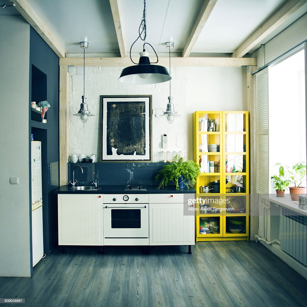 Sink, oven and shelves in apartment kitchen : Photo
