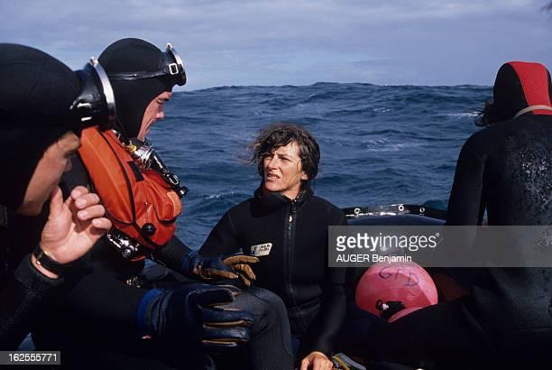 Sinking Of Florence Arthaud Trimaran 'Groupe Pierre 1Er' During The Race Quebec St Malo Sur l'océan Atlantique le 1er septembre 1988 lors du naufrage...