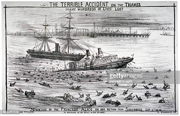 Sinking of the 'Princess Alice' on the River Thames 1878 Scene showing the paddle steamer sinking surrounded by drowning figures with the collier...
