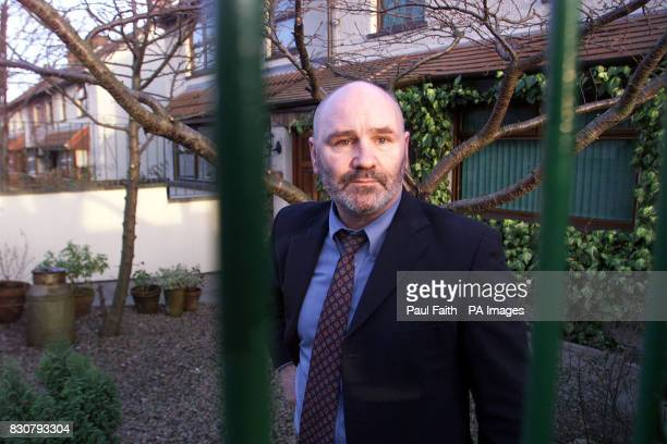 Sinn Fein Belfast Councillor Alex Maskey in the garden of his west Belfast home where a pipe bomb was discovered earlier the unexploded device almost...