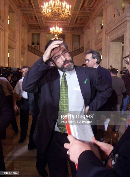 Sinn Fein leader Gerry Adams after speaking to the press at Parliament buildings in Belfast after Secretary of State for Northern Ireland Peter...
