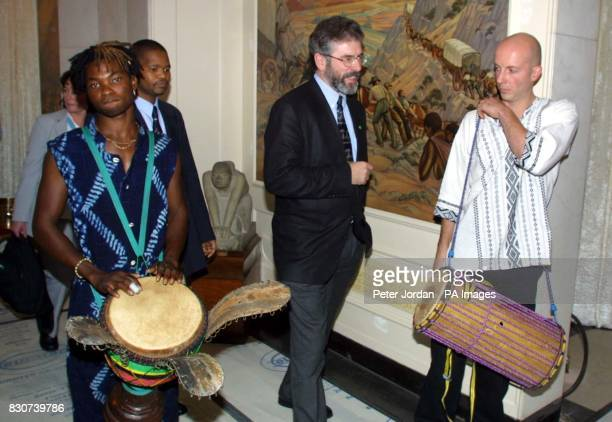 Sinn Fein leader Gerry Adams arrives for a reception at South Africa House London Mr Adams called the IRA arms announcement a 'huge liberating leap...