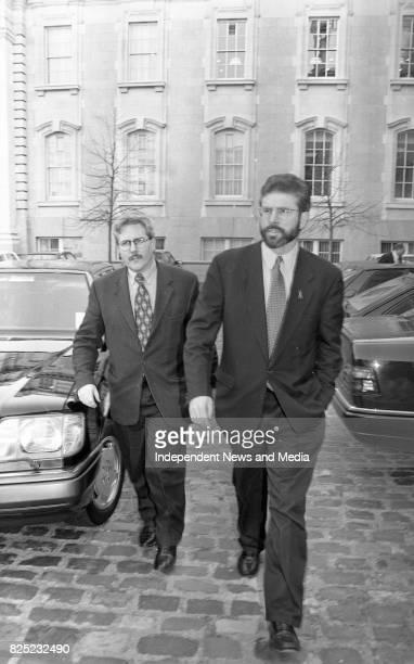 Sinn Fein Leader Gerry Adams at a Photocall at Government Buildings Dublin