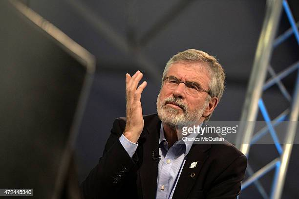 Sinn Fein leader Gerry Adams is interviewed by a broadcaster as the General Election count takes place at the King's Hall on May 7 2015 in Belfast...