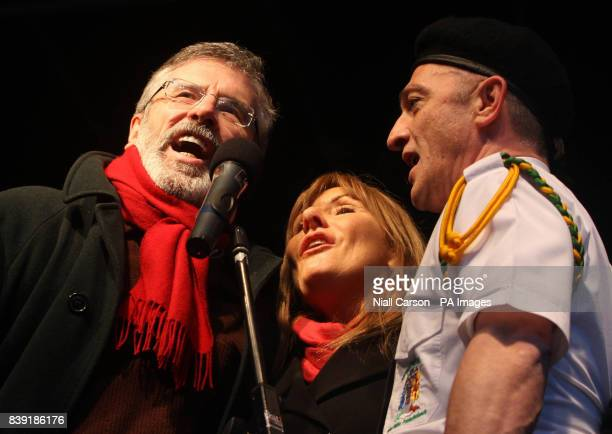 Sinn Fein Leader Gerry Adams joins folk singer Frances Black in a rendition of the Irish National Anthem during the 39th anniversary of Bloody Sunday...