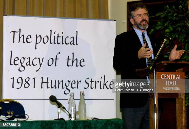 Sinn Fein leader Gerry Adams speaking at Westminster Hall in London during a debate on the significance of the 1981 prisoner hunger strikes in which...