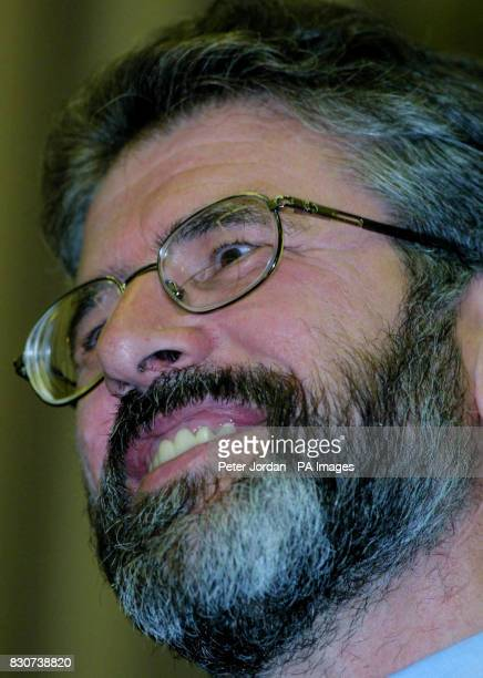 Sinn Fein leader Gerry Adams speaking at Westminster Hall in London Mr Adams tonight called the IRA arms decommissioning announcement a 'huge...