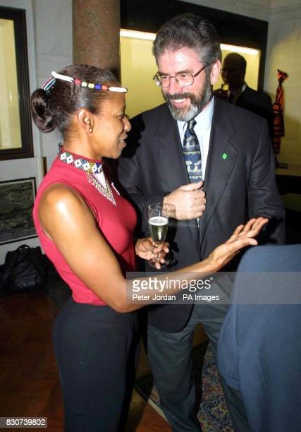 Sinn Fein leader Gerry Adams talking with Cheryl Carolus the South African High Commisoner who was holding a farewell reception before her departure...
