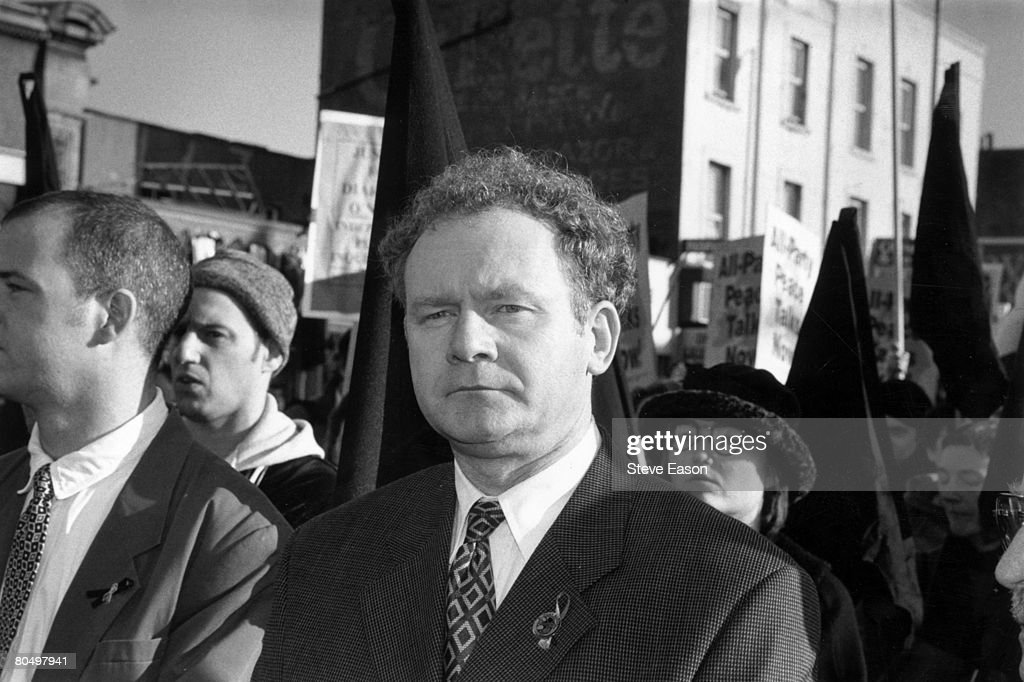 Sinn Fein leader Martin McGuinness at a rally in North London to commemorate the 25th anniversary of Bloody Sunday, 25th January 1997.