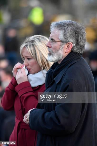 Sinn Fein Northern Ireland Leader Michelle O'Neill and Sinn Fein President Gerry Adams attend Martin McGuinness' Funeral at the Derry City Cemetery...