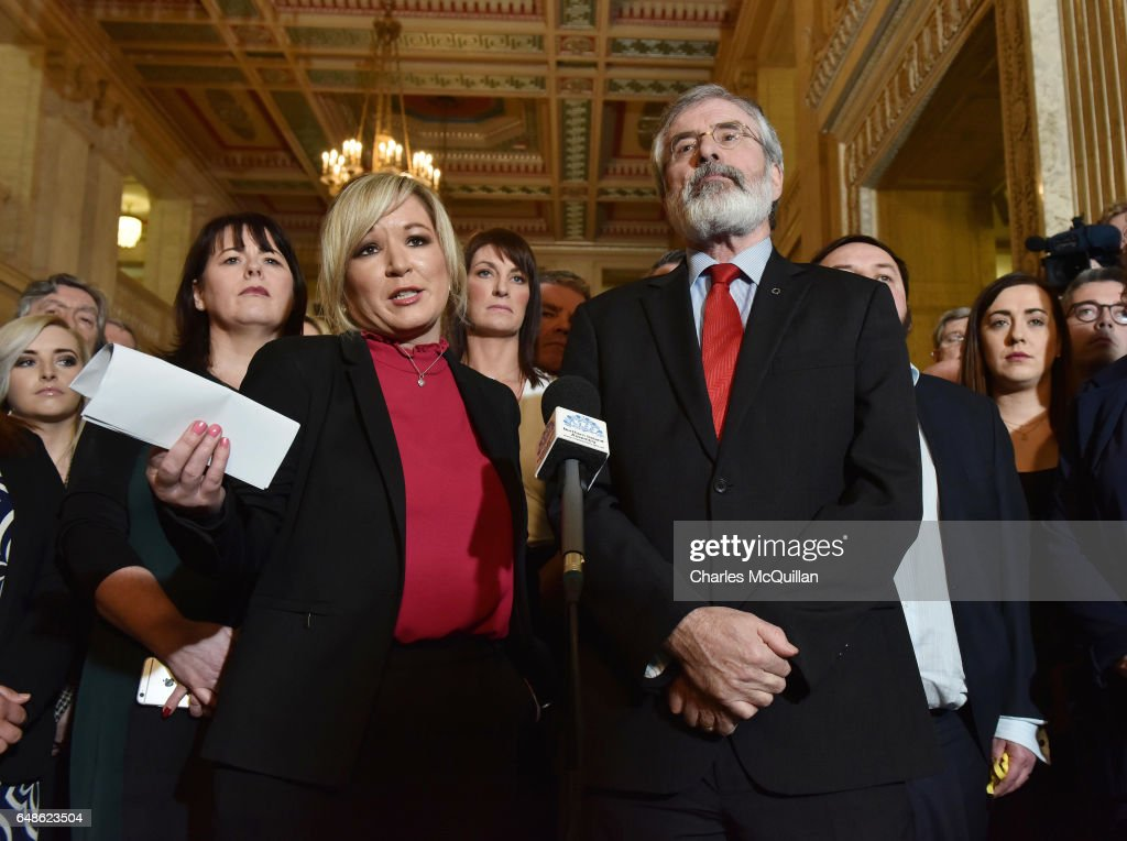 Sinn Fein president Gerry Adams (R) and northern leader Michelle O'Neill (L) hold a press conference at Stormont on March 6, 2017 in Belfast, Northern Ireland. Elected MLA's return today after last weeks elections with the two largest parties, Sinn Fein and the Democratic Unionist party commencing talks to form a new power sharing executive government. Sinn Fein northern leader Michelle O'Neill has stated that there can be no agreement if former First Minister Arlene Foster of the DUP is nominated again for the position.