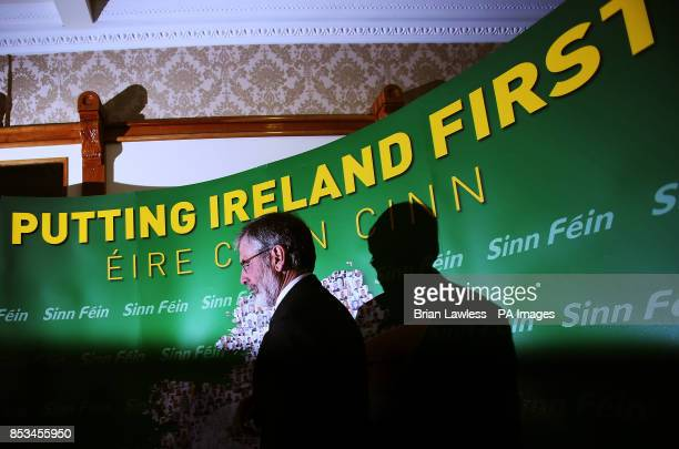 Sinn Fein president Gerry Adams arrives for a press conference at the Balmoral Hotel Belfast after his release from custody at Antrim Police Station...
