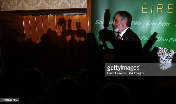 Sinn Fein president Gerry Adams arrives for a press conference in the Balmoral Hotel Belfast after his release from custody at Antrim Police Station...