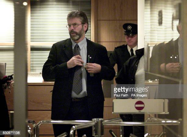 Sinn Fein President Gerry Adams arrives inside Belfast Magistrates court Ulster Unionist leader David Trimble was reported tonight to be on the verge...