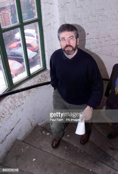 Sinn Fein President Gerry Adams arriving to speak at a press conferernce in Belfast where Adams said that Northern Ireland Secretary Peter Mandelson...