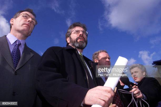 Sinn Fein President Gerry Adams centre with Martin McGuinness and Gerry Kelly left leaving Castle Buildings Belfast after their meeting with Peter...
