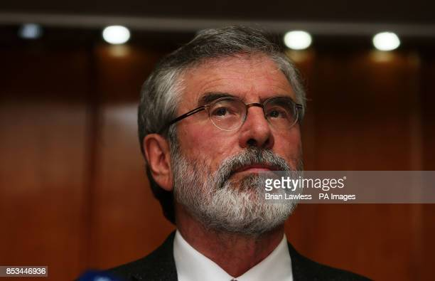 Sinn Fein president Gerry Adams during a press conference at the Balmoral Hotel Belfast after his release from custody at Antrim Police Station...