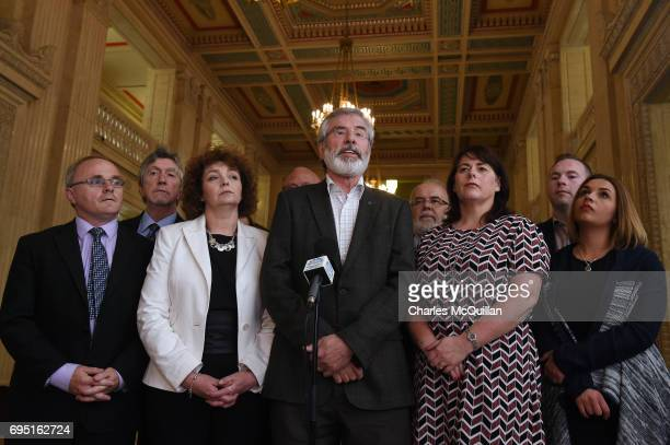 Sinn Fein president Gerry Adams holds a press conference alongside party members at Stormont as the Stormont assembly power sharing negotiations...